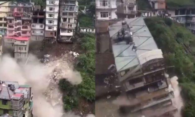 Watch 8-Storey Building Collapse in Shimla Due to Landslide