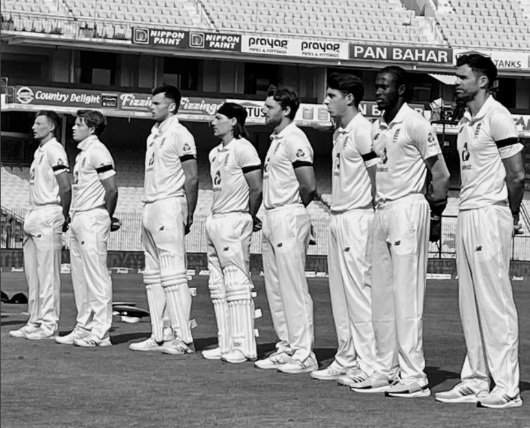 England Cricket Team wearing black armbands in memory of World War veteran Tom Moore
