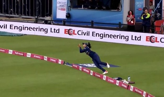 Catch It! Harleen Deol Takes Unbelievable Catch in Eng vs Ind Women's 1st T20