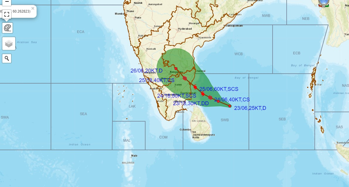 A cyclone developing in the Bay of Bengal – Nivar Cyclone