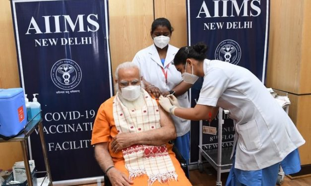 PM Narendra Modi takes the second dose of COVAXIN at AIIMS