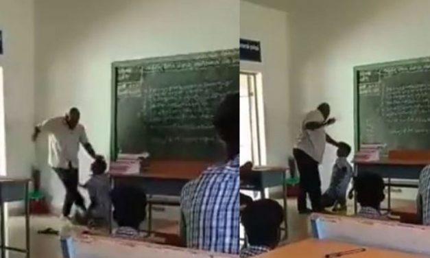 Brutality Caught on Cam: Tamil Nadu Student Misses Class; Teacher Kicks & Thrashes Student