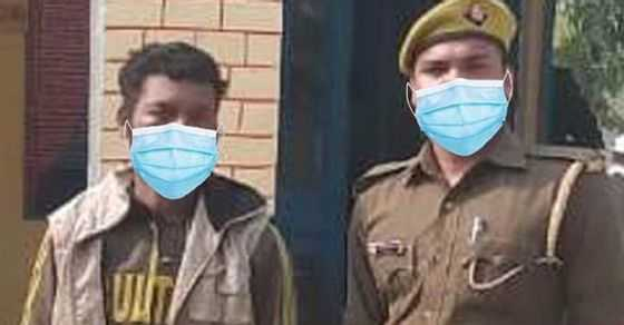 UP Police edits Mask on a pic of Criminal and Official, goes viral