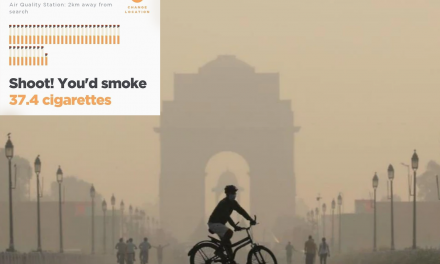 A Day in Delhi equals 38 Cigarettes a day as per this app. See other stats too.