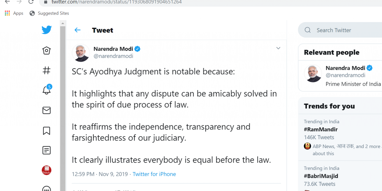 Notable Reactions on Twitter after Ayodhya Verdict